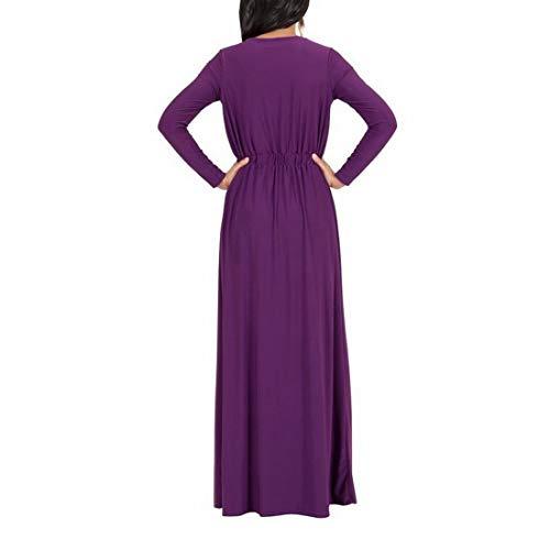 Blue A Igspfbjn Maniche Size Da Purple Xl Lunghe Donna color Abito Lungo Con zUErqSUw