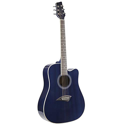 (Kona K1TBL Acoustic Dreadnought Cutaway Guitar in Transparent Blue Finish)