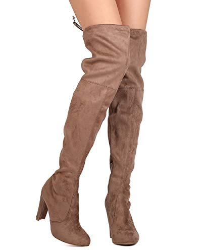 Women's Over The Knee Boot Sexy Thigh High Pull on Boots Trendy Low Block Heel Shoes Taupe 10 ()