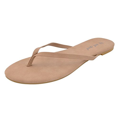 d24b1f3930fd67 Image Unavailable. Image not available for. Color  Women Faux Leather Flip  Flops Taupe Thong Sandals