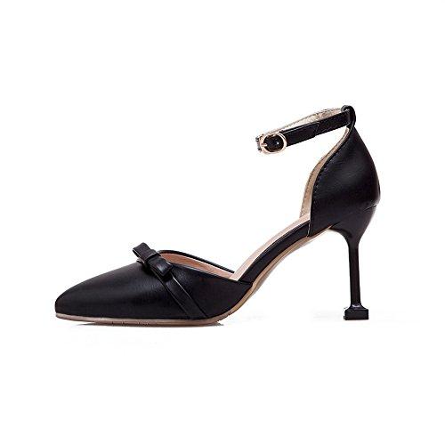 Buckles Bows Black BalaMasa Shoes Metal Urethane Womens Pumps Toe Pointed ASL04230 S4StqW