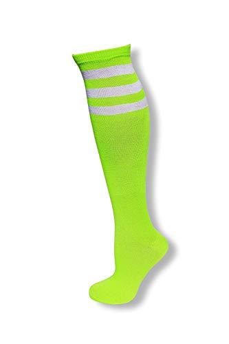 (NeonNation Colored Knee High Tube Socks w/White Stripes-Neon)