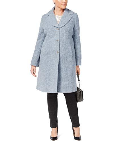 Jones New York Womens Plus Size Notched Shawl-Collar Walker Coat Blue 3X