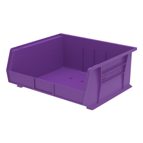 Akro-Mils 30250 15-Inch by 16-Inch by 7-Inch Plastic Storage Stacking Hanging Akro Bin, Purple, 6-Pack by Akro-Mils