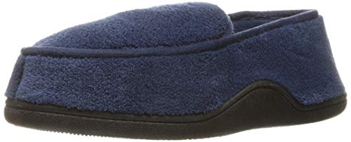 Isotoner Men's Microterry Slip On Slippers, Navy Medium / 8-9 US