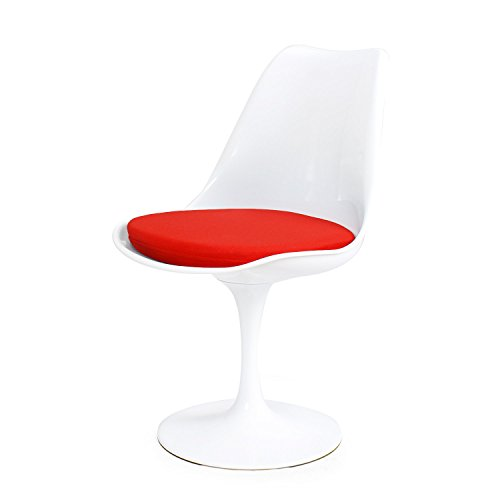 (DecentHome Tulip Kitchen Living Room Dining Chair Bar Stool with Cushion White with Red)
