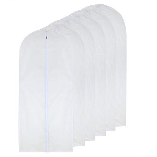 (HomeClean Garment Bag Clear 24'' x 54'' Long-Dress Moth Proof Garment Bags White Breathable Full Zipper Dust Cover for Clothes Storage Closet Pack of 6)