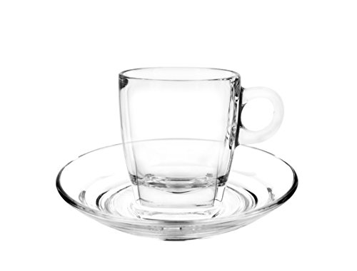 Cuisivin Caffé Collection 8706 Cappuccino 7 oz Cup and Saucer-gift box set (2 cups + 2 saucers) Drinkware Cups With Saucers, Clear ()