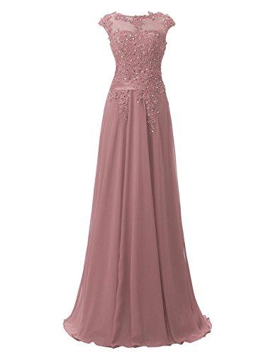 CSD181 Chiffon Damen Ballkleider Clearbridal Lange Applikation Abschusskleider Mauve Abendkleider mit q58nHwUHax