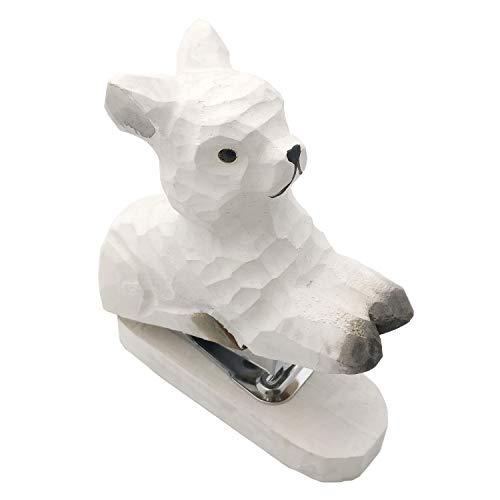 Chris.W Novelty Alpaca Stapler Wood Carving Animal Desk Stapler for School Office Home, Mini Size, Great Gift for Kids