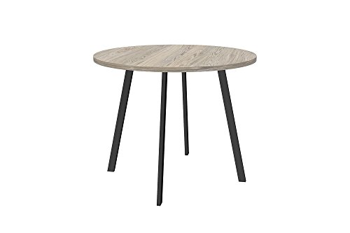 Novogratz Leo Farmhouse Round Dining Table with Sleek Slanted Metal Legs and Grey Wood Veneer Table Top by Novogratz