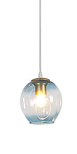 - OOFAY Stained Glass Spherical Pendant Lamp, Originality Contemporary Design,DIY Ceiling Light,Blue