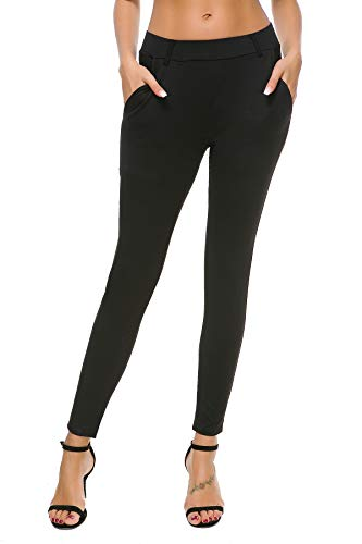 Bamans Women's Yoga Dress Pants Tummy Control Pull On 4 Way Stretch Skinny Slim Leggings, Black XL