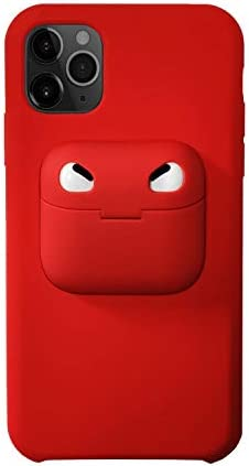ComfortHurry iPhone Case with Airpod Holder on The Back- Compatible with iPhone 11 Pro, iPhone 11, iPhone 8, iPhone SE, Airpods Pro and AirPods (Red, iPhone SE-8/Airpods Pro)