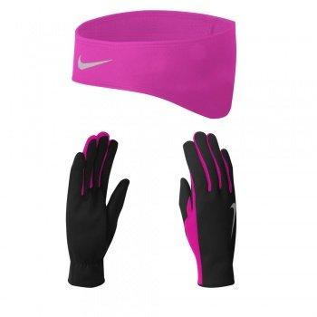 Nike Dri-Fit Women's Running Headband/Glove Set (Small, Black/Vivid Pink)