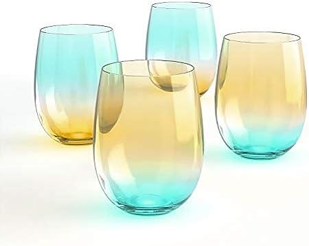 [4-Pack, 535ml/18oz] DESIGN·MASTER - Copas de Vino sin Tallo de Colores, Tendencias de Moda 2021, Ideales para Vino Tinto y Blanco, Cócteles, Agua y Regalos para Fiestas.(Amarillo Claro & Azul)