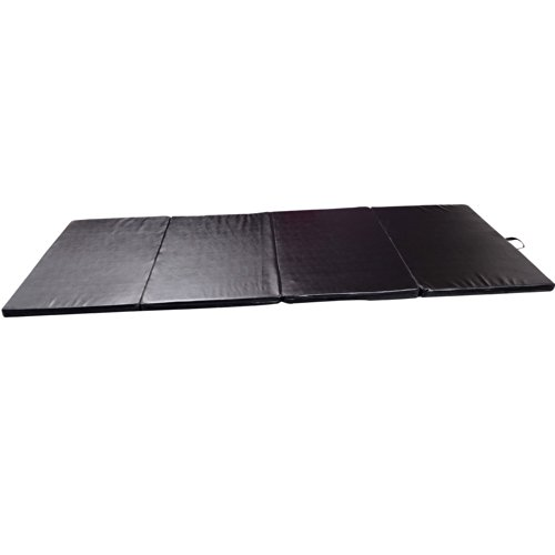 Soozier PU Leather Gymnastics Tumbling/Martial Arts Folding Mat, Black, 4 x 8′ x 2″