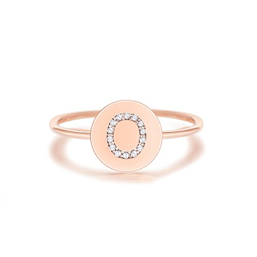 (PAVOI 14K Rose Gold Plated Initial Ring Stackable Rings for Women | Fashion Rings - O Ring)