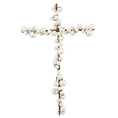 Mud Pie Pearl and Wire Cross Table Décor, (Pearl Cross)