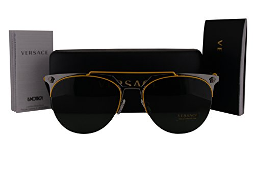Versace VE2181 Sunglasses Yellow Gunmetal w/Green Lens 100171 VE - New Sunglasses Versace Collection