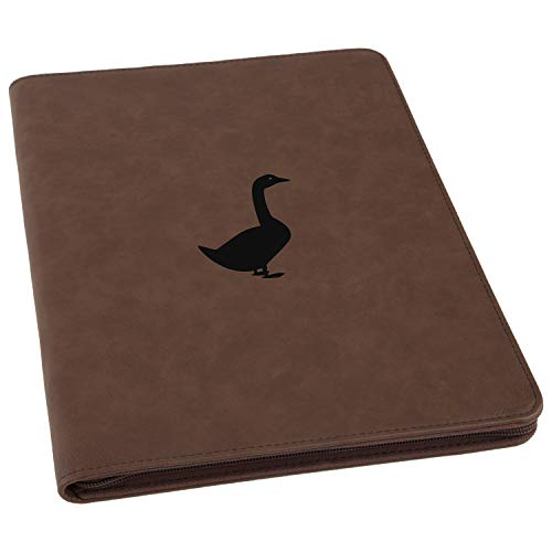 Goose Engraved Leather Executive Business Portfolio with Notepad, Document Holder