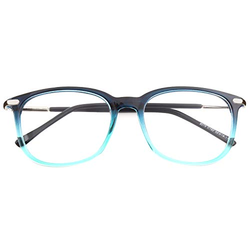 Happy Store CN79 High Fashion Metal Temple Horn Rimmed Clear Lens Eye Glasses,Blue (Best Glasses Frames For High Prescription)