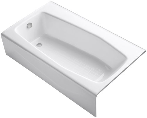 KOHLER K-713-0 Villager Bath with 4-Inch Ledge and Left-Hand Drain, White