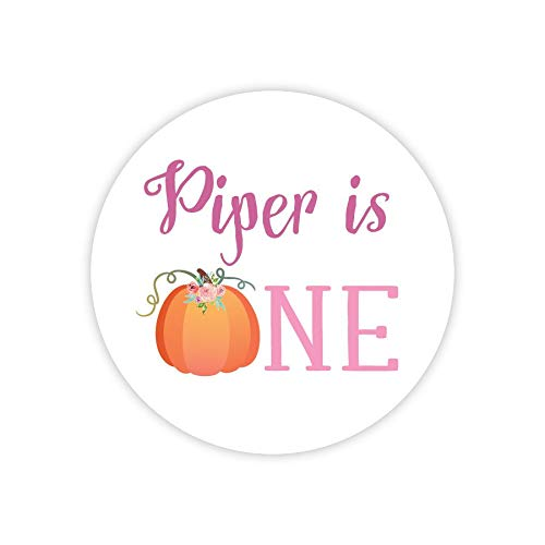 Personalized Little Pumpkin Party Stickers Pumpkin Birthday Decor Printable Party Circles Printable Pumpkin Decor Stickers ()