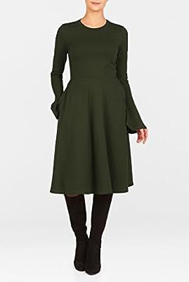 eShakti Women's Zip back cotton knit dress