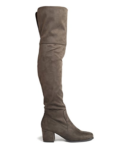 Suede High Trendy J Easy Brandy Thigh Heel by Vegan Shoe Heel Adams Block Low Knee Over Olive Suede Boot The 88BqnCv