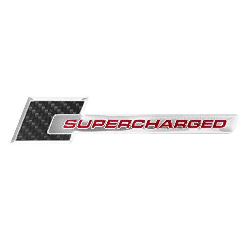 Carbon Fiber & Chrome Aluminum Red Supercharged Engine Emblem - 6.0
