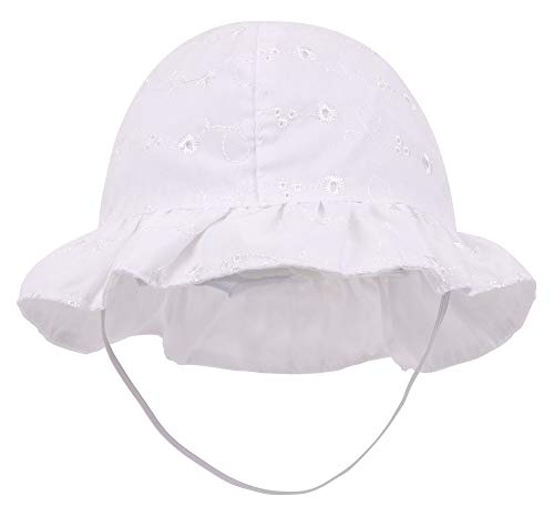 SimpliKids Baby Infant Lovely Floral Embroidered Floppy Wide Brim Sun Hats ,White,0-12 -