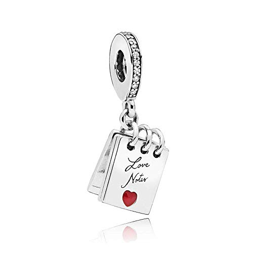 - Romántico Amor Love Note Dangle Charm Red Enamel Openable Silver Bead for Pandora Bracelets