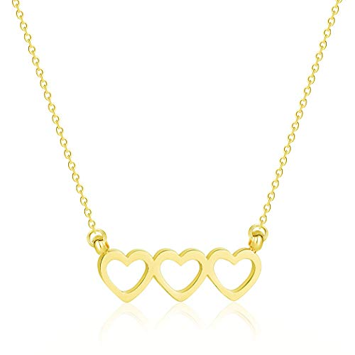 (YOOE Simple Hollow Geometric 3 Love Heart Necklace, Adjustable Pendant Tricolor Gold Silver Rose Gold Clavicle Chain Wedding Bride Women Jewelry (Gold))