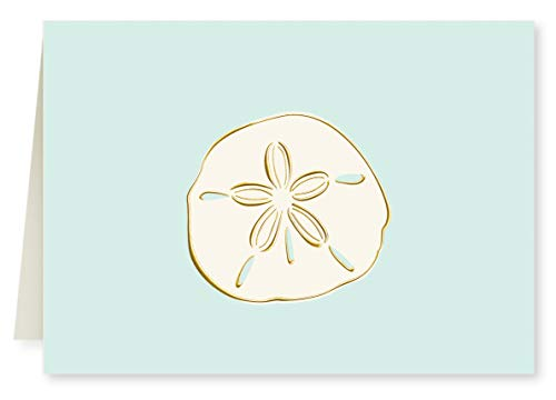 Faux Designs - Sand Dollar on Aqua Background Foil Embossed Blank Folded Note Card Set of 8