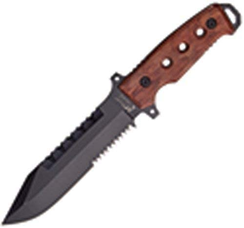 Master Cutlery MX-8098W 12 Fixed Blade Knife, 5 mm Thickness Lacquer Over Brown Wood Handle Sheath