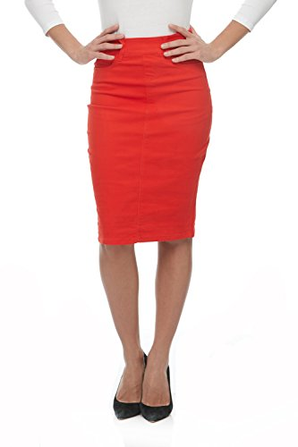 Esteez Jean Skirt for Women Knee Length Brooklyn Scarlet red 10