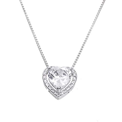 100% 925 Sterling Silver Shiny Cz Zircon Romantic Love Heart Ladies`Pendant Necklaces Box Chain Jewelry Women Gift Female Cheap Clear 45cm