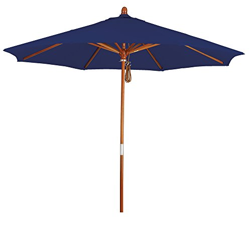 Eclipse Collection 9' Wood Market Umbrella Pulley Open Marenti (Offset Pulley Inserts)