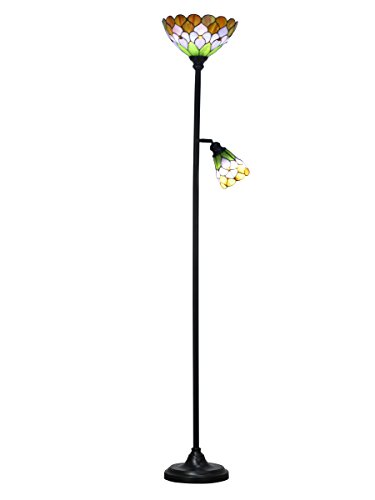 Springdale by Dale Tiffany STR16118 Toby Peony Tiffany Floor Lamp with Side Light, Antique Bronze