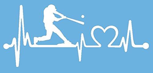 Bluegrass Decals K1075 Baseball Guy Batter Batting Heartbeat Lifeline Decal Sticker (White)
