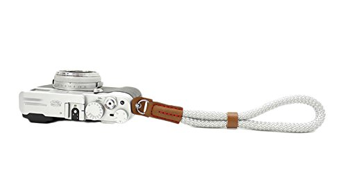 MINI GAGA Universal Handmade Cotton Leather Camera Wrist Strap for Leica Nikon Fuji Pentax Canon Silver