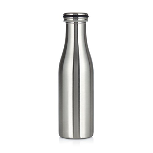 Stainless steel vacuum insulated water bottle,18oz/500ml, cool milk jar design (Silver)