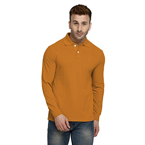 Shirt Sport Pique Sleeve (CHKOKKO Men's Regular Fit Cotton Long Sleeve Solid Golf Polo Shirts M Size Mustard)