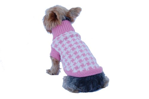 Anima Pink and White Houndstooth Print Knit Sweater, Large, My Pet Supplies