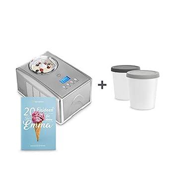 Máquina para hacer helados caseros EMMA | ice cream maker | Heladera con compresor 1,5 l | recipiente extraíble y pantalla LCD + Libro de recetas: ...