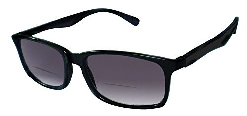 Rodeo i12 Thin Wayfarer Near Invisible Bi Focal Sun Reader Sunglasses (Slate, 3.00) by Rodeo