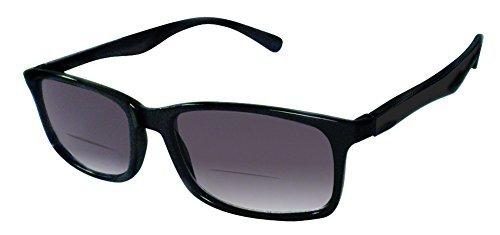 Rodeo i12 Thin Wayfarer Near Invisible Bi Focal Sun Reader Sunglasses (Slate, 3.00)