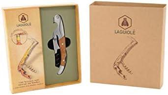 LAGUIOLE - Mango Sommelier Doble Palanca en Madera de Bambú - Acero Inoxidable - Cuchillo con funciones de sacacorchos, corte de cápsulas y abrebotellas - Comodidad de uso - Caja de regalo - acero inoxidable, madera de bambú - Marrón claro