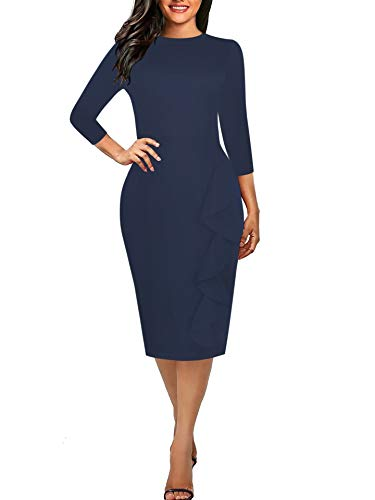 - CISMARK Women's Casual Solid Blue Half Sleeve Round Neck Work Business Pencil Dress Dark Blue M
